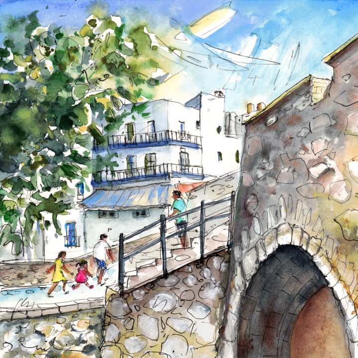 Peniscola Old Town 03 - Painting, ©2014 by Miki de Goodaboom -                                                                                                                                                                                                                                                                                                                                                                                                                                                                                                                                              Expressionism, expressionism-591, Architecture, Spain, Peniscola, old town, street, townscape, architecture, old buildings, people
