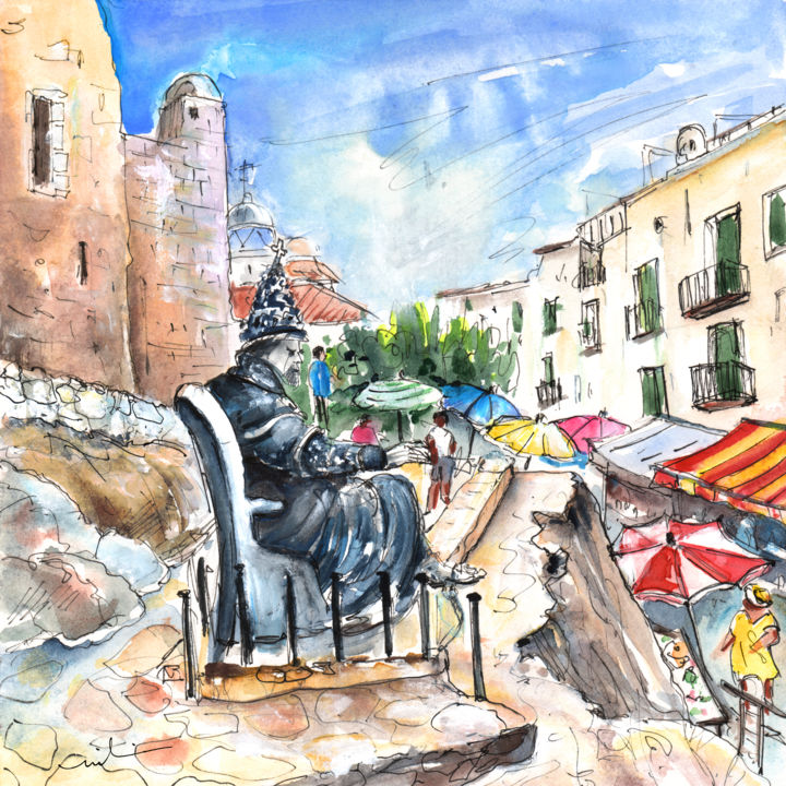 Papa Luna In Peniscola - Painting, ©2014 by Miki de Goodaboom -                                                                                                                                                                                                                                                                                                                                                                                                                                                                                                                                                                                          Expressionism, expressionism-591, Religion, Spain, Peniscola, Statues, sculptures, pope, Papa Luna, historical buildings, castles, religious statue