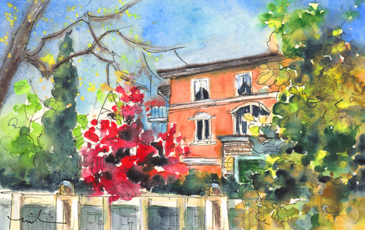Autumn In Bergamo 01 - Painting ©2014 by Miki de Goodaboom -                                                                        Expressionism, Impressionism, Paper, Landscape, Italy, Bergamo, townscape, houses, beautiful house, trees, seasons