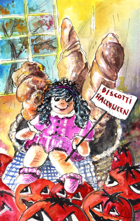 Halloween Party in A Bergamo Bakery - Painting, ©2014 by Miki de Goodaboom -                                                                                                                                                                                                                                                                                                                                                                                                                                                                                                                                                                                          Expressionism, expressionism-591, Still life, Italy, Bergamo, still life, bakery, bread, breads, doll, humour, Halloween