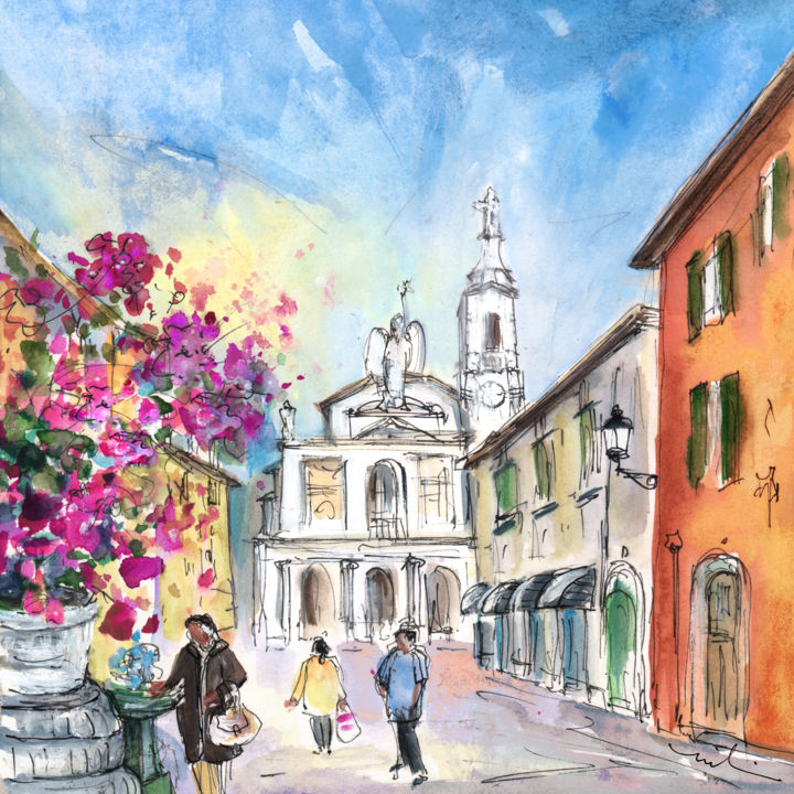 People painting houses - Bergamo Lower Town 01 Painting 2014 By Miki De Goodaboom Expressionism Impressionism