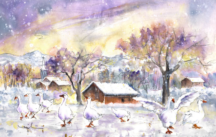 Geese In Germany In Winter - Painting ©2015 by Miki de Goodaboom -                                                                        Expressionism, Impressionism, Paper, Animals, travel, Europe, Germany, South Germany, Freiburg, reute, animals, geese, white geese, geese in snow, winter, winterscape