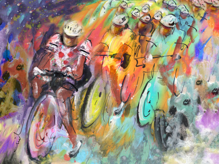 Le Tour De France Madness 01 - Painting ©2015 by Miki de Goodaboom -                                                                    Contemporary painting, Expressionism, Impressionism, Sports, sport, sports, sport art, cycling, cycling art, cyclists, Tour De France, Tour de France painting, Tour de France art