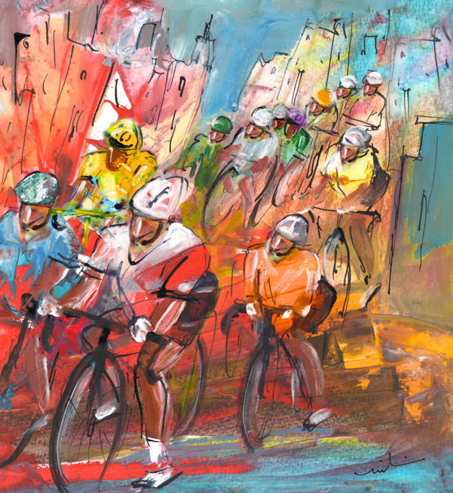 Le Tour De France Madness 04 - Painting ©2015 by Miki de Goodaboom -                                                                    Contemporary painting, Expressionism, Impressionism, Sports, sport, sports, sport art, cycling, cyclists, cycling art, Tour de France, Tour de France art, extreme sports