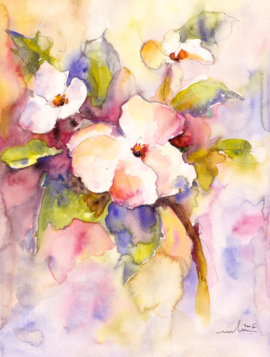 Blossoms - Painting,  15.8x11.8 in, ©2015 by Miki de Goodaboom -                                                                                                                                                                                                                                                                                                                                                                                                                                                                                                                                              Expressionism, expressionism-591, Flower, flower, flowers, floral, blossom, blossoms, tree, trees, tree branch