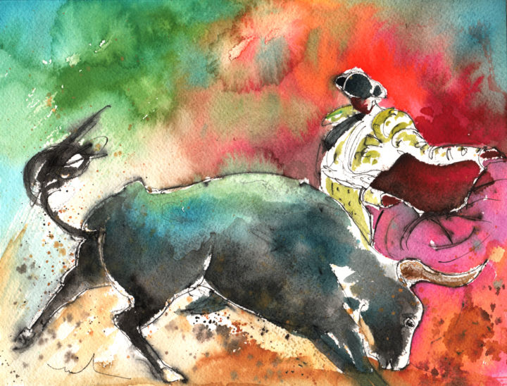 Bullfighting Under The Rainbow - Painting,  7.5x9.8 in, ©2013 by Miki de Goodaboom -                                                                                                                                                                                                                                                                                                                                                                                                                                                                                                                                                                                                                                                                                                                                                                                                                                                                                                              Expressionism, expressionism-591, Animals, Culture, animals, bulls, toros, aquarelle, bullfighting, bullfighting art, bullfight, corrida, bullfighter, torero, toreador, rainbow, rainbow colours, impressionism, expressionism