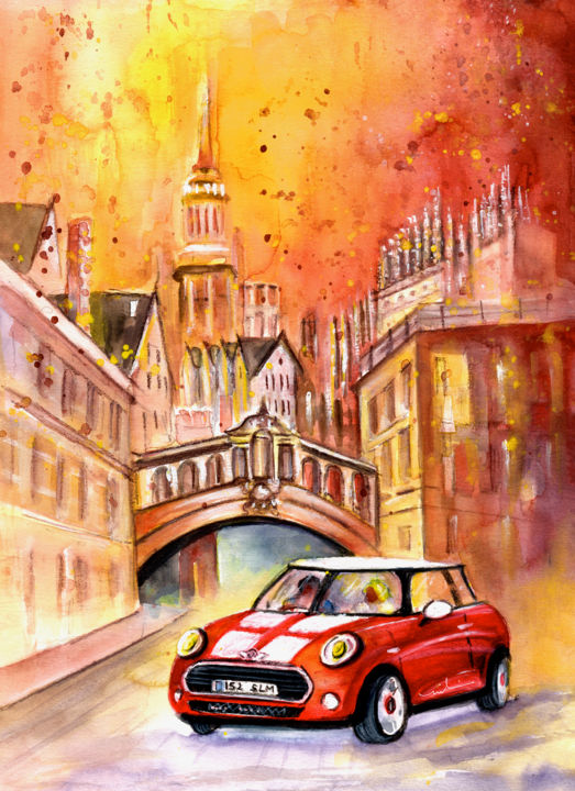 Oxford Authentic - Painting,  41x30 cm ©2015 by Miki de Goodaboom -                                                                                                Expressionism, Impressionism, Paper, Architecture, Car, Travel, trave, art, UK, England, Oxford, monuments, typical buildings, townscape, transport, cars, Mini, Cooper, Mini Cooper, red Mini, sunset