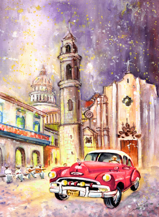 Cuba Authentic - Painting,  41x30 cm ©2015 by Miki de Goodaboom -                                                                                                            Expressionism, Impressionism, Paper, Architecture, Car, Transportation, Travel, travel, art, Caribbean, Caribbean Island, Cuba, town square, Havana, La Habana, church, churches, cafes, music, music band, Cuban music, transport, cars, old cars, old american cars, vintage cars