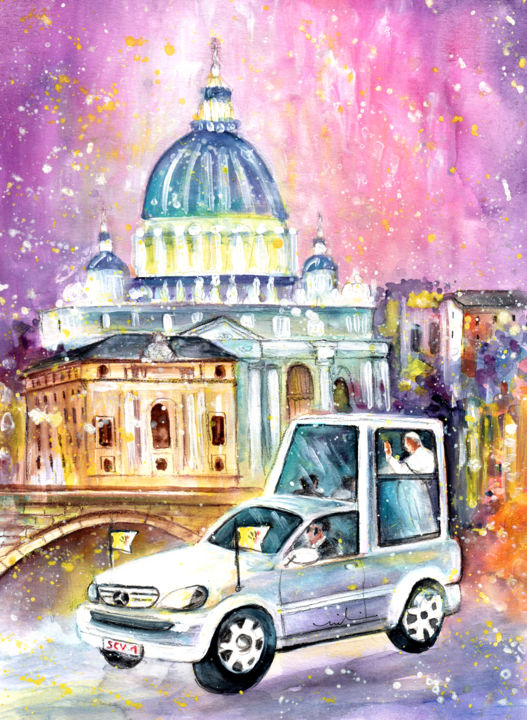 Vatican Authentic - ©  Europe, Vatican, Pope, Popemobile, Pope car, basilica, church, churches, St Peters, The Authentic Series Online Artworks