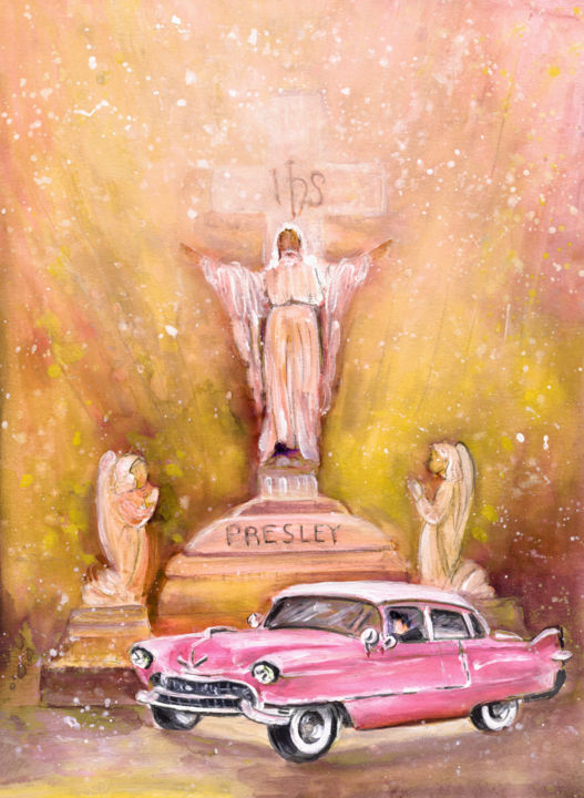 Graceland Authentic - Painting,  40x31 cm ©2015 by Miki de Goodaboom -                                                                                                            Expressionism, Impressionism, Paper, Car, Music, Religion, Still life, travel, art, USA, United States, Memphis, Graceland, Elvis, Elvis Presley, pink Cadillac, statue, grave stone, God, angels