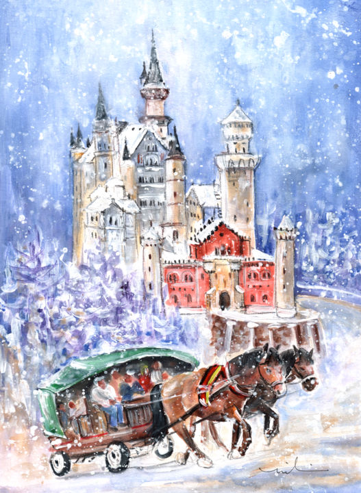 Neuschwanstein Castle Authentic - Painting,  41x30 cm ©2015 by Miki de Goodaboom -                                                                                                                        Expressionism, Impressionism, Paper, Animals, Architecture, Landscape, Transportation, Travel, travel, art, Europe, Germany, Bavaria, Neuschwanstein, castle, Ludwig, mad Kind, King Ludwig, King Ludwig castle, transportation, carriages, horses, horse carriage, people, snow, winter