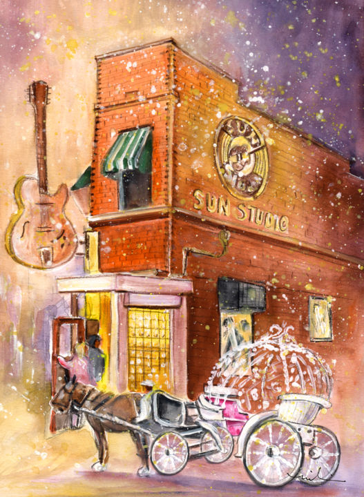 Memphis Authentic - Painting,  41x30 cm ©2015 by Miki de Goodaboom -                                                                                                            Expressionism, Impressionism, Paper, Animals, Architecture, Music, Transportation, travel, art, USA, United staes, America, Memphis, Sun Studio, horse, horse carriage, people, guitars, music, Memphis Landmark