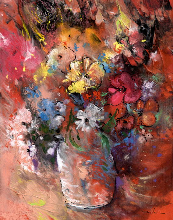 Wild Flowers Bouquet In Terracotta Vase - Painting,  32x25 cm ©2015 by Miki de Goodaboom -                                                                    Expressionism, Impressionism, Flower, Still life, flower, flowers, vase, wild flowers, bouquet, still life, yellow flowers, daisies