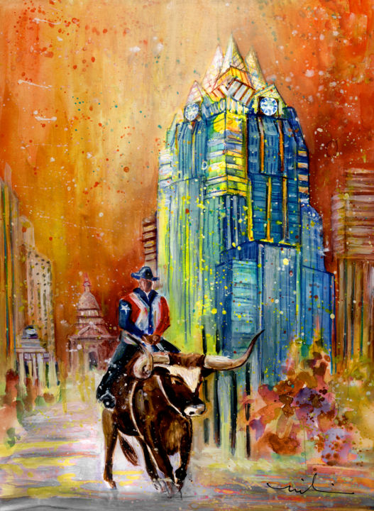 Austin Authentic 01 - Painting,  41x30 cm ©2015 by Miki de Goodaboom -                                                                                    Expressionism, Impressionism, Paper, Animals, Architecture, travel, art, USA, United States, America, Texas, Austin, architecture, skyscraper, Frost Bank Tower, famous buildings, cattle, cow, long horn, cowboy, cowboy on long horn, flag
