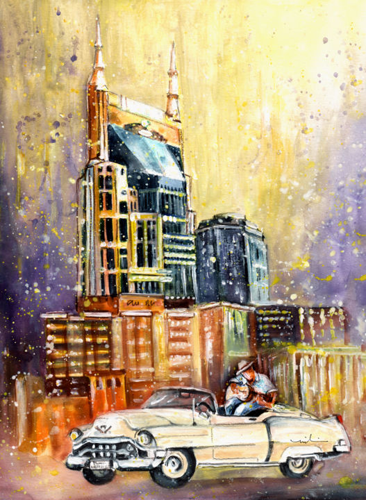 Nashville Authentic - ©  travel, art, USA, America, Tennessee, Nashville, AT&T building, architecture, skyscrapers, Nashville skyline, car, oldtimer, white car, man sititng on car, playing guitar, country music, convertible car Online Artworks