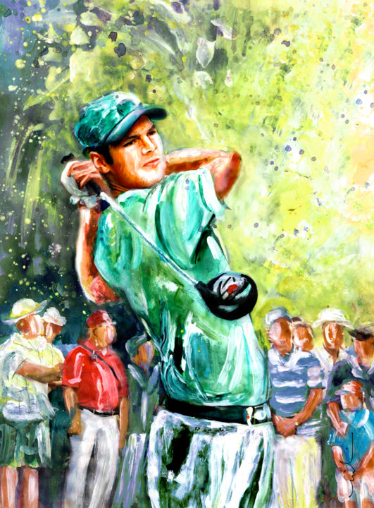 Martin Kaymer - Painting ©2015 by Miki de Goodaboom -                                                                                                Expressionism, Impressionism, Portraiture, Paper, Portraits, Sports, sports, sport art, golf, golf art, golfing art, german golf, German golfer, Martin Kaymer