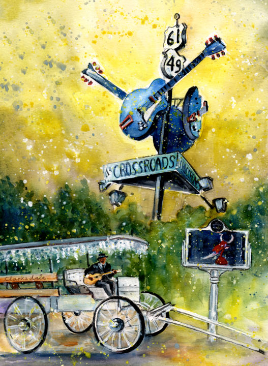Clarksdale Authentic - ©  USA, Mississippi, Clarksdale, Blues Trail, Crossroads, carriage, Robert Johnson, guitars, blues musician, devil, selling soul to devil Online Artworks