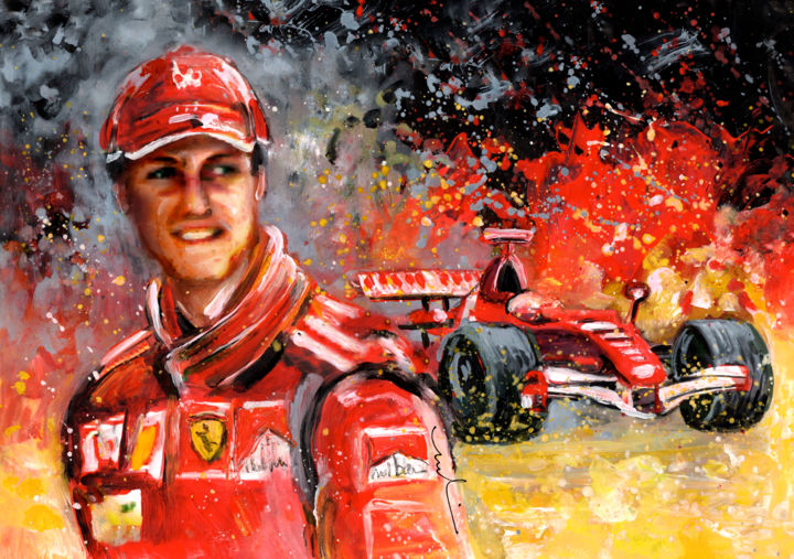 Michael Schumacher - Painting ©2015 by Miki de Goodaboom -                                                                                    Expressionism, Impressionism, Portraiture, Paper, Sports, Formula 1, Formel 1, cars, cars racing, drivers, German drivers, Schumacher, Michael Schumacher, motor sports, Germany