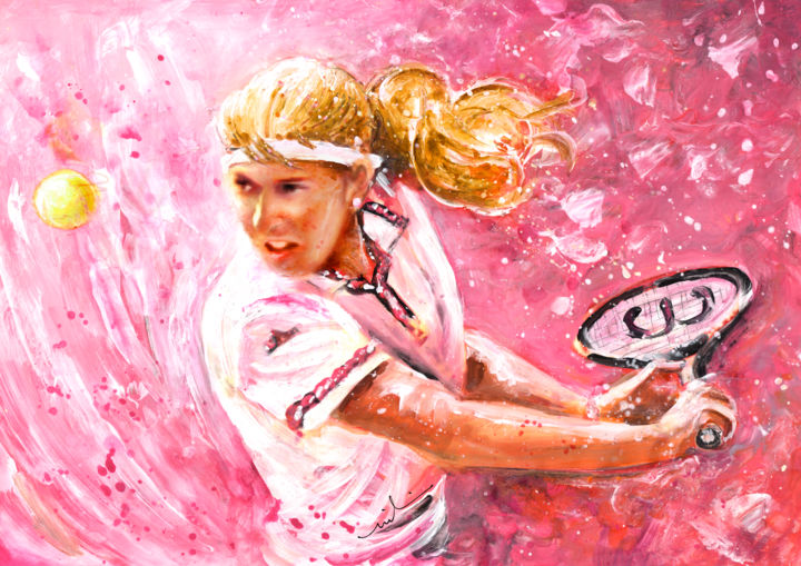 Steffi Graf - ©  sports, sport, sport art, tennis, tennis art, tennis painting, German tennis, Steffi Graf, German tennis star, woman tennis Online Artworks