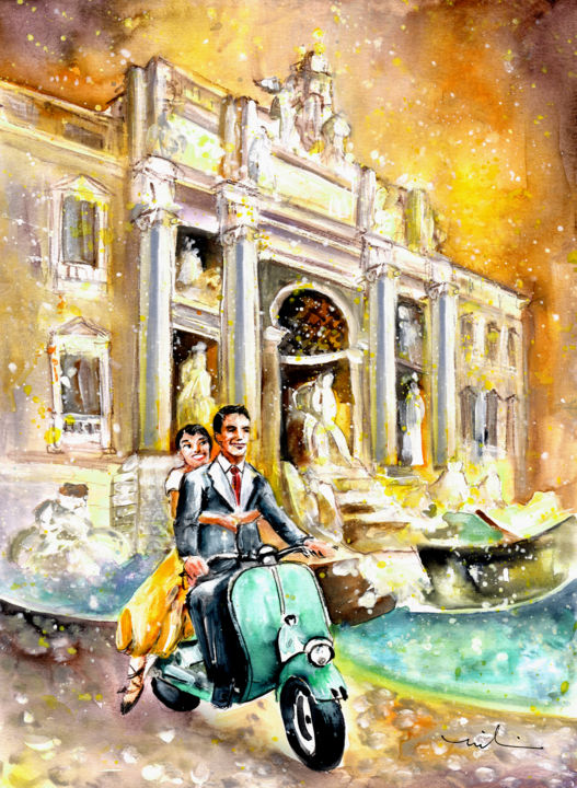 Rome Authentic - Painting,  41x30 cm ©2015 by Miki de Goodaboom -                                                        Expressionism, Impressionism, Paper, travel, art, Italy, Rome, fountain, architecture, famous fountain in Rome, Roman holiday, Audrey Hepburn, Gregory Peck, scooters, scooter, Italina scooter