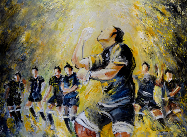 Maori Haka Again And Again - Painting,  60x80 cm ©2015 by Miki de Goodaboom -                                                                        Expressionism, Impressionism, Canvas, Sports, sport, sport art, rugby, rugby art, Maori Haka, New Zealand, war dance, rugby world cup