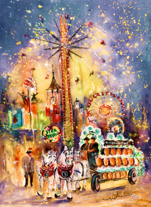 Munich Authentic - Painting,  41x30 cm ©2015 by Miki de Goodaboom -                                                                                                Expressionism, Impressionism, Paper, Animals, Architecture, Transportation, Travel, art, Europe, Germany, Munich, Muenchen, Oktoberfest, October feast, beer, beer feast, carriages, horses, beer barrels, white horses, people, carusels