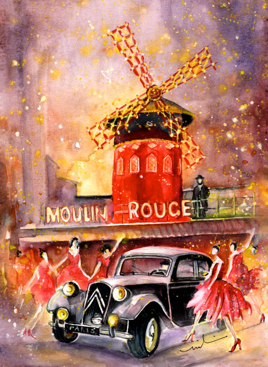 Moulin Rouge Authentic - Painting,  41x30 cm ©2015 by Miki de Goodaboom -                                                                                                                        Expressionism, Illustration, Impressionism, Paper, Architecture, Car, Transportation, Women, travel, art, Europe, Paris, Moulin Rouge, cabaret, night cabaret, car, cars, vintage car, Citroen, French car, black Citroen, women, dancers, women in red dresses