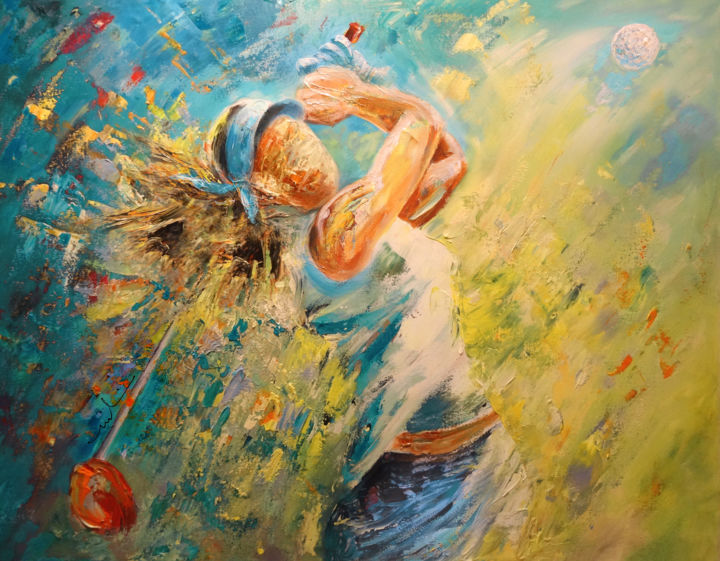 Golf Passion - Painting,  70x90 cm ©2015 by Miki de Goodaboom -                                                                        Expressionism, Impressionism, Canvas, Sports, sports, sport, sport art, golf, golf art, golf painting, woman, woman golfer, female golfer, hitting the driver, woods