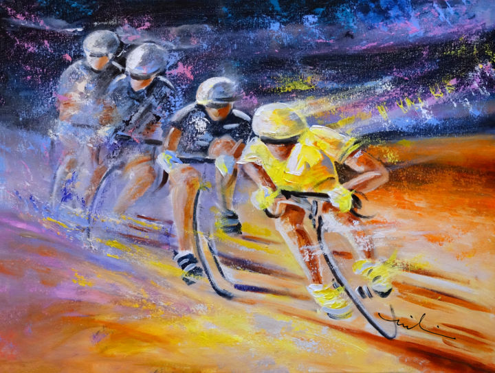 Defying Time In A Yellow Jersey - Painting,  60x80 cm ©2015 by Miki de Goodaboom -                                                                        Expressionism, Impressionism, Canvas, Sports, sport, sports, sport art, cycling, cycling art, cyclists, Tour de France, Tour de France art, maillot jaune, yellow jersey