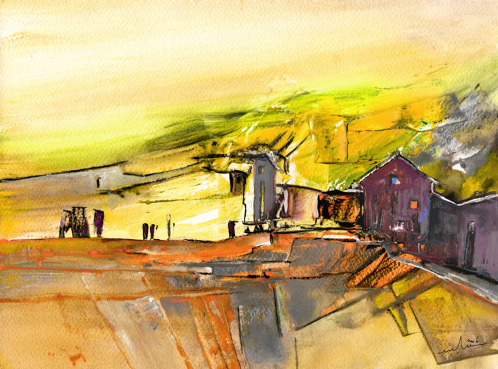 Early Morning 71 - Painting,  10.6x14.2 in, ©2015 by Miki de Goodaboom -                                                                                                                                                                                                                                                                                                                                                                                                                                                                                                                                              Expressionism, expressionism-591, Landscape, landscape, village, villages, houses, light, yellow light, spain, Spanish village