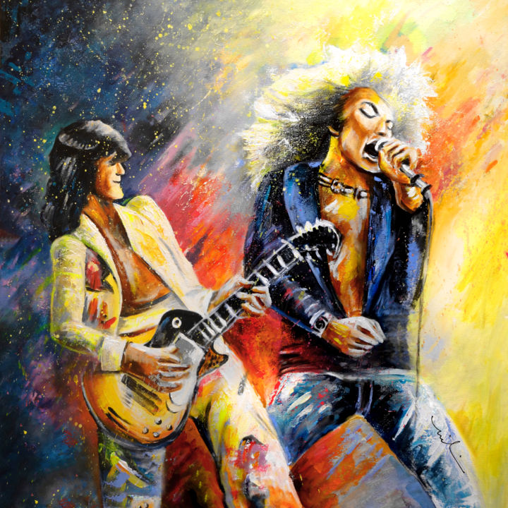 Led Zeppelin Passion - Painting,  100x100 cm ©2015 by Miki de Goodaboom -                                                                                    Expressionism, Impressionism, Portraiture, Canvas, Music, music, musicians, Led Zeppelin, Robert Plant, Jimmy Page, rock, rock band, rock musicians, portraits, singers, guitars, guitarists