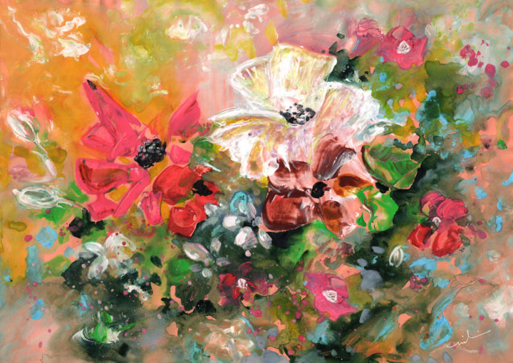 New Year Flowers - Painting,  9.8x13.8 in, ©2016 by Miki de Goodaboom -                                                                                                                                                                                                                                                                                                                                                                                                                                                                                                  Expressionism, expressionism-591, Flower, floral, flower, flowers, still life, white flowers, pink flowers, fantasy