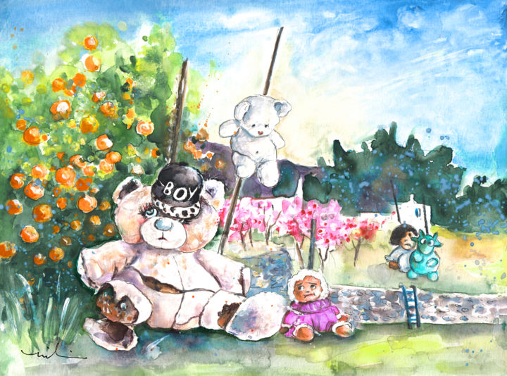 Go Teddy - Painting,  24x32 cm ©2016 by Miki de Goodaboom -                                                                    Expressionism, Animals, Landscape, Still life, animals, teddy bears, Truffle McFurry, Spain, Andalucia, Cabo de Gata, Nijar, scare crows, scarecrows, dolls, wounded bears