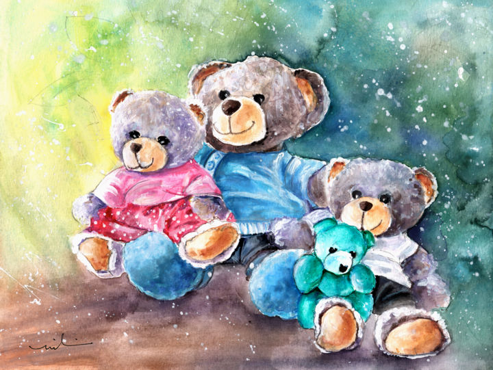 Nanny Boy Coffee Ole - Painting,  24x32 cm ©2016 by Miki de Goodaboom -                                                                        Expressionism, Paper, Animals, Still life, fun, toy, humour, bears, teddy bears, nanny, Teddy beay nanny, Mahe, Mikben, Doudou Chou, Teddy bears sitting together