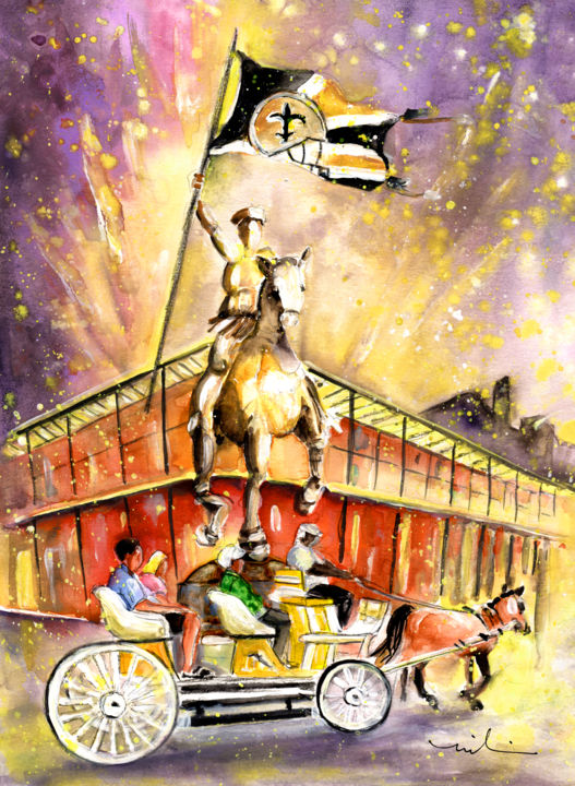 New Orleans Authentic - Painting,  41x30 cm ©2016 by Miki de Goodaboom -                                                                                                Expressionism, Impressionism, Paper, Animals, Architecture, Transportation, travel, art, USA. America, Louisiana, New Orleans, French Quarter, carriage, horses, horse carriage, statues, famous buildings, Joan of Arc, flag