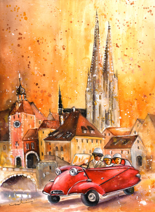 Regensburg Authentic - Painting,  41x30 cm ©2016 by Miki de Goodaboom -                                                                                    Expressionism, Illustration, Paper, Architecture, Transportation, travel, art, Europe, Germany, Regensburg, Townscape, architecture, houses, churches, German church, transportation, cars, old timers, bubble car, red bubble car