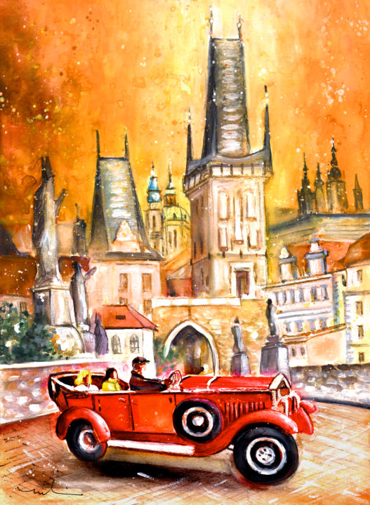 Prague Authentic 01 - Painting,  41x30 cm ©2016 by Miki de Goodaboom -                                                                                    Expressionism, Impressionism, Paper, Architecture, Transportation, travel, art, Europe, Czech republic, Prague, townscape, historic buildings, bridge, Charles Bridge, Churches, houses, cars, red cars, old timer, taxi, beautiful taxi
