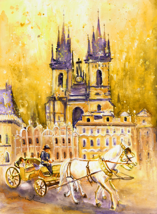 Prague Authentic 02 - Painting,  41x30 cm ©2016 by Miki de Goodaboom -                                                                                                Expressionism, Impressionism, Paper, Animals, Architecture, Transportation, travel, art, Europe, Czech republic, Prague, architecture, historical buildings, horses, white horses, carriages, horse carriage, square