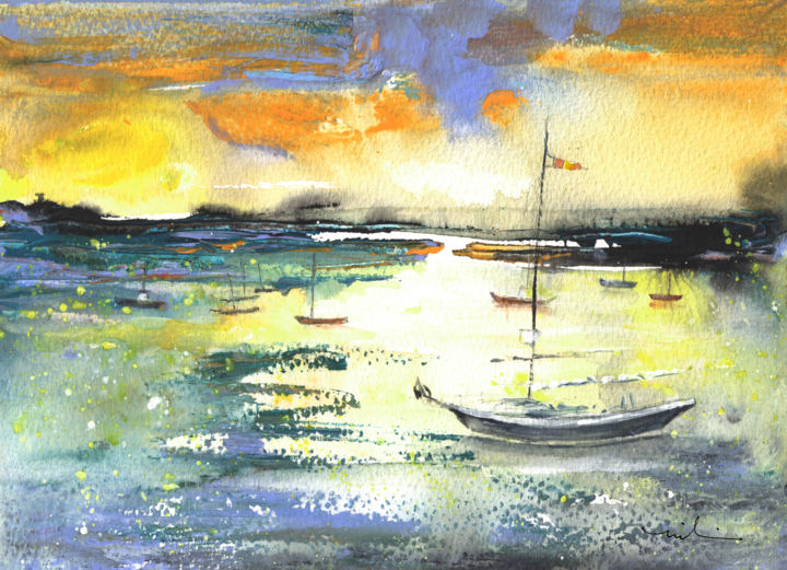 Early Morning 72 - Painting,  20x28 cm ©2016 by Miki de Goodaboom -                                                                    Expressionism, Impressionism, Boat, Landscape, travel, art, Spain, North, landscape, seascape, harbour, boat, boats, light