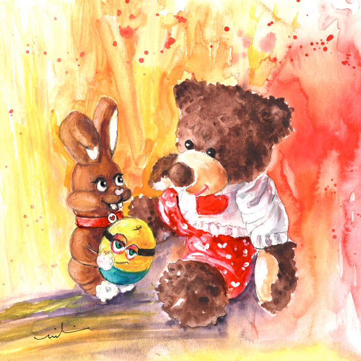 The Easter Rabbit And The Minion Egg - Painting,  23x23 cm ©2016 by Miki de Goodaboom -                                                                                                Expressionism, Illustration, Paper, Animals, Humor, Still life, fun, bears, animals, Teddy bears, Truffle McFurry, Easter, rabbit, easter rabbit, chocolate, chocolate rabbit, eggs, Easter eggs, Minion, minions, Minion egg