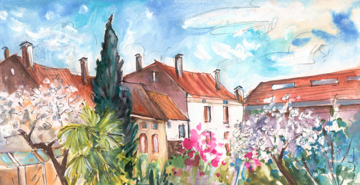 View From The Trfle Window In Albi - Painting ©2016 by Miki de Goodaboom -                                                                                    Expressionism, Impressionism, Paper, Architecture, Botanic, travel, art, France, Tarn, Albi, Trefle, garden, trees, houses, roofs, blossoming trees, palm trees