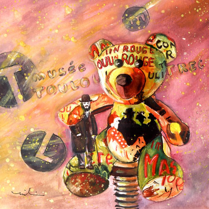 Toulouse - Painting ©2016 by Miki de Goodaboom -                                                                                                Expressionism, Illustration, Paper, Animals, Humor, Still life, Museum Toulouse-Lautrec, bear, bears, Teddy bears, Truffle McFurry, Toulouse, bear with tattoos, Toulouse lautrec paintings, fun, humor, Teddy bear with Toulouse-Lautrec
