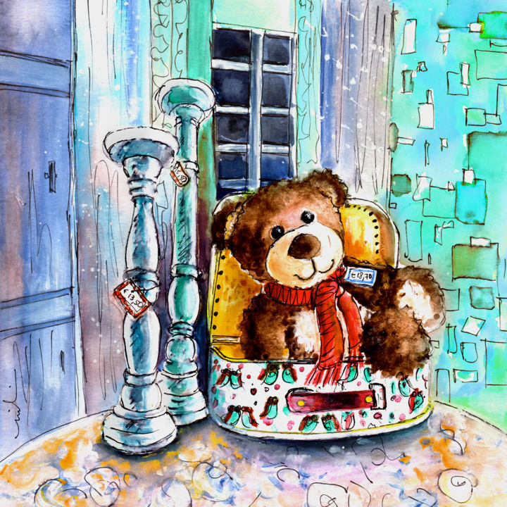 Jacques de Saint Antonin Noble Val - Painting ©2016 by Miki de Goodaboom -                                                                                                Expressionism, Illustration, Paper, Animals, Humor, Still life, toys, animals, bears, Teddy bears, Truffle McFurry, Jacques, Saint Antonin Noble Val, dhop, candle holder, suitcase, Teddy bear in suitcase