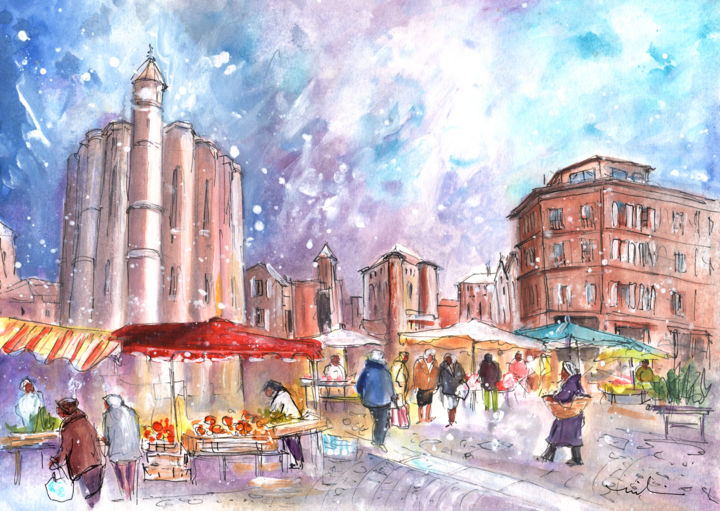 Saturday Market In Albi 02 - Painting ©2016 by Miki de Goodaboom -                                                                    Expressionism, Impressionism, Architecture, Food & Drink, travel, art, Europe, France, Tarn, departement, Almi, markets, martket, Saturday market, architecture, cathedral, Saint Cecile, houses, stalls, food, people, snow, winter, historic buildings