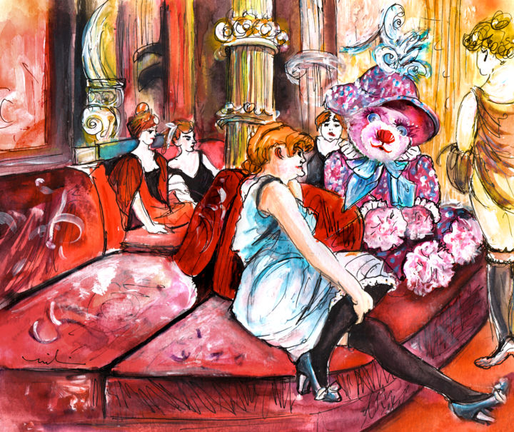 Bearnadette In The Salon In The Rue Des Moulins - ©  Teddy bears, Teddy Bear, Truffle McFurry, Salon, Rue des Moulins, Toulouse-Lautrec, fun, humour Online Artworks