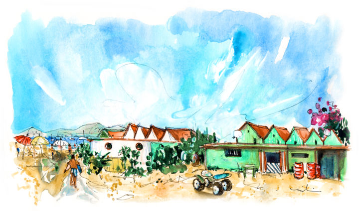 Farol Island 03 - ©  travel, art, sketch, travel sketch, Europe, Portugal, Algarve, Ria Formosa, Natural Park, islands, island, Culatra, farol, village, houses, beaches, beach, people Online Artworks