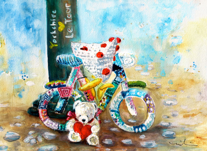 Marlon And The Tour Of Yorkshire - Painting ©2016 by Miki de Goodaboom -                                                                                                                        Expressionism, Figurative Art, Illustration, Paper, Animals, Bike, Sports, Still life, bears, Teddy Bears, Marlon Blanco, sports, cycling, Tour de Yorkshire, crochet bike, Thirsk Yarnbombers