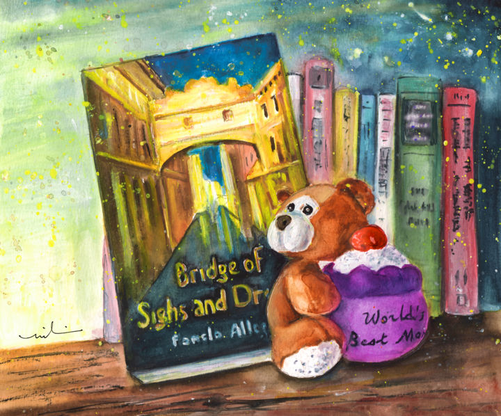 Baby Bear - Painting ©2016 by Miki de Goodaboom -                                                                                    Expressionism, Illustration, Paper, Animals, Still life, bears, toys, Teddy bears, Baby Bear, books, Teddy Bera holding cupcake, cup cake, cupcake, cupcakes
