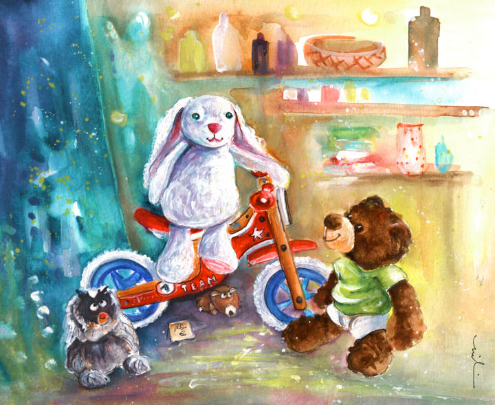 A White Rabbit On A Bike - Painting ©2016 by Miki de Goodaboom -                                                                        Illustration, Paper, Animals, Still life, bears, Teddy bears, truffle McFurry, bikes, white rabbit, white rabbit and bike, France, Cordes-sur-Ciel, rabbit and Teddy bear