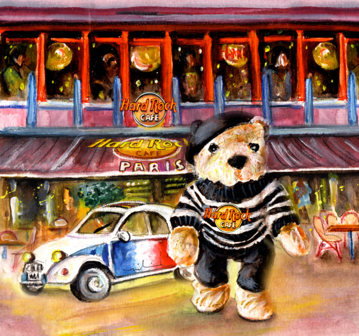 Hard Rock Cafe Teddy Bear From Paris - ©  bear, Teddy Bear, Teddy bears, France, Paris, cars, music, rock, Hard Rock Cafe Online Artworks